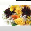 季節のお花たっぷりおまかせ長い形の花束-黄色オレンジ系