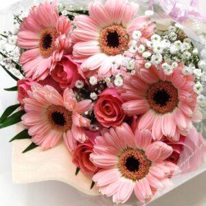 Sugar-ピンクのガーベラと薔薇とかすみ草の花束