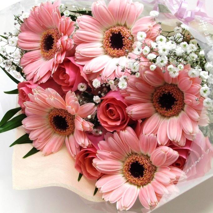 ピンク系薔薇とガーベラの花束