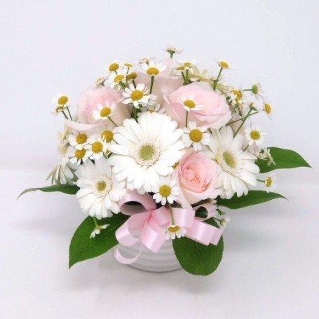ピンク薔薇と白いガーベラのアレンジメント