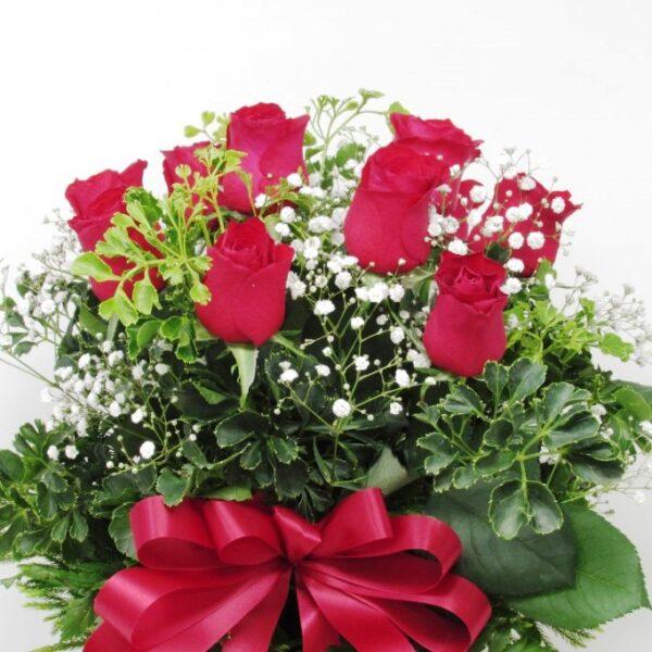 赤薔薇10本のアレンジメント