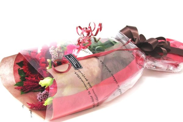 おまかせ花束長い形ー赤系