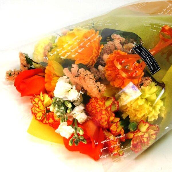 おまかせ花束長い形黄色オレンジ系