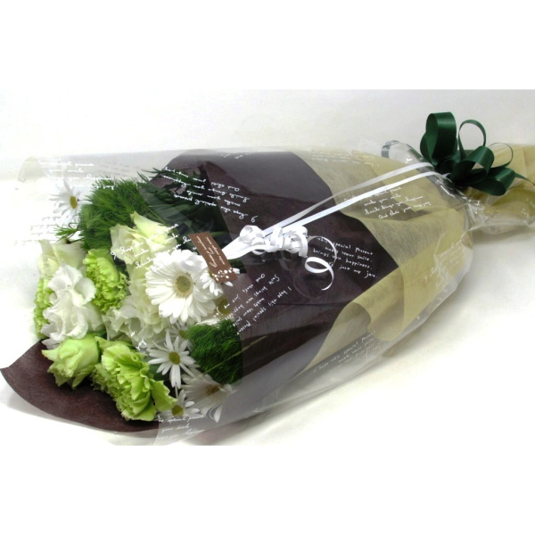 おまかせ花束長い形-白グリーン