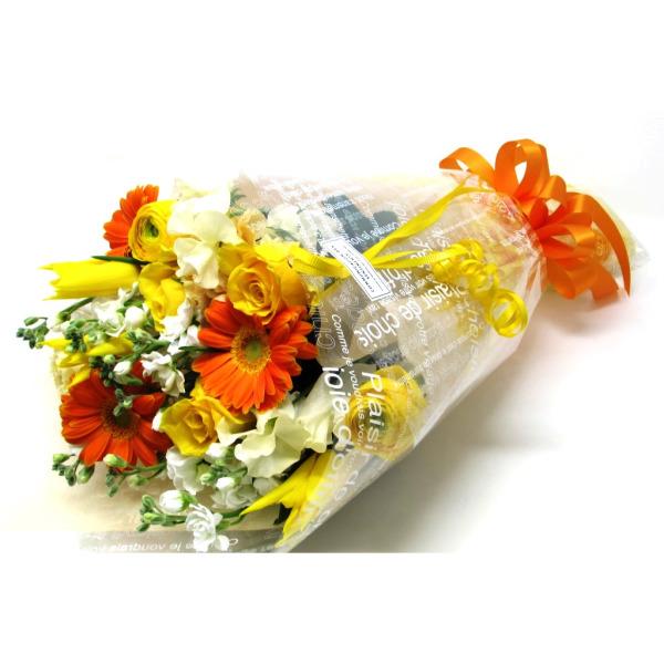 おまかせ花束長い形-黄色オレンジ系