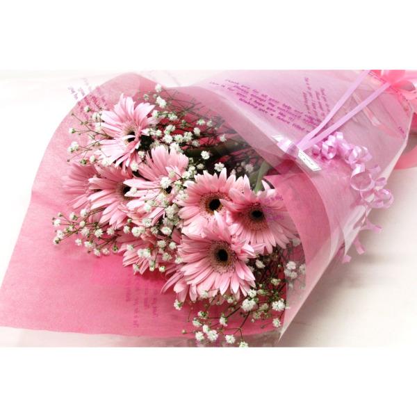 ピンク系ガーベラとかすみ草の花束